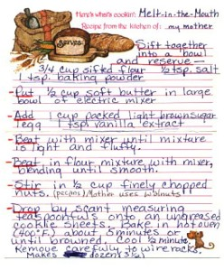 Justin's mother's Melt in Your Mouth Cookie recipe card