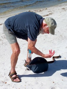 Dad, surprised by a shell, Florida, Feb 2007