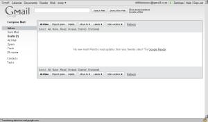Gmail minimalist screen, Jan 2010