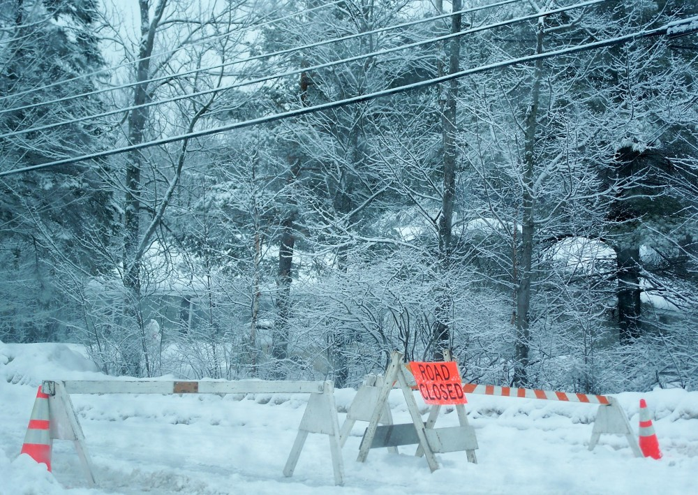 road closed, wires down, 27 Feb 2010
