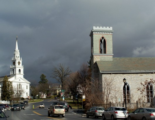 dark sky over churches, Middlebury VT, Thanksgiving 2010