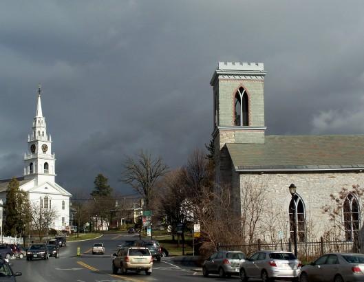dark sky over churches, Middlebury VT, Thanksgiving 2010