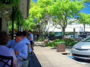 lunch outside at Barbara Jean's, SSI, 27 April 2012