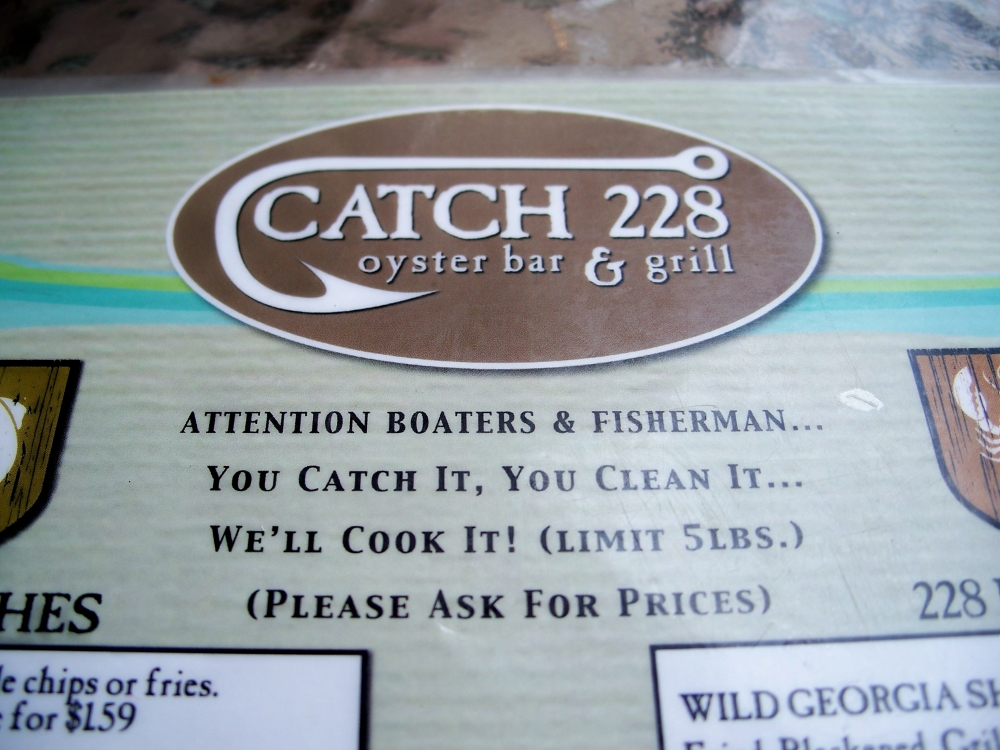 part of Catch 228 menu, SSI, 21 April 2012