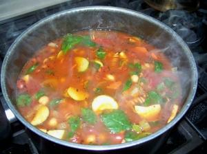 minestrone soup on stove, 18 Nov 2012